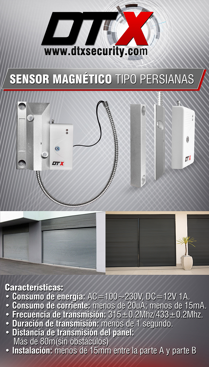 Sensor tipo cortina metalica DTX Security